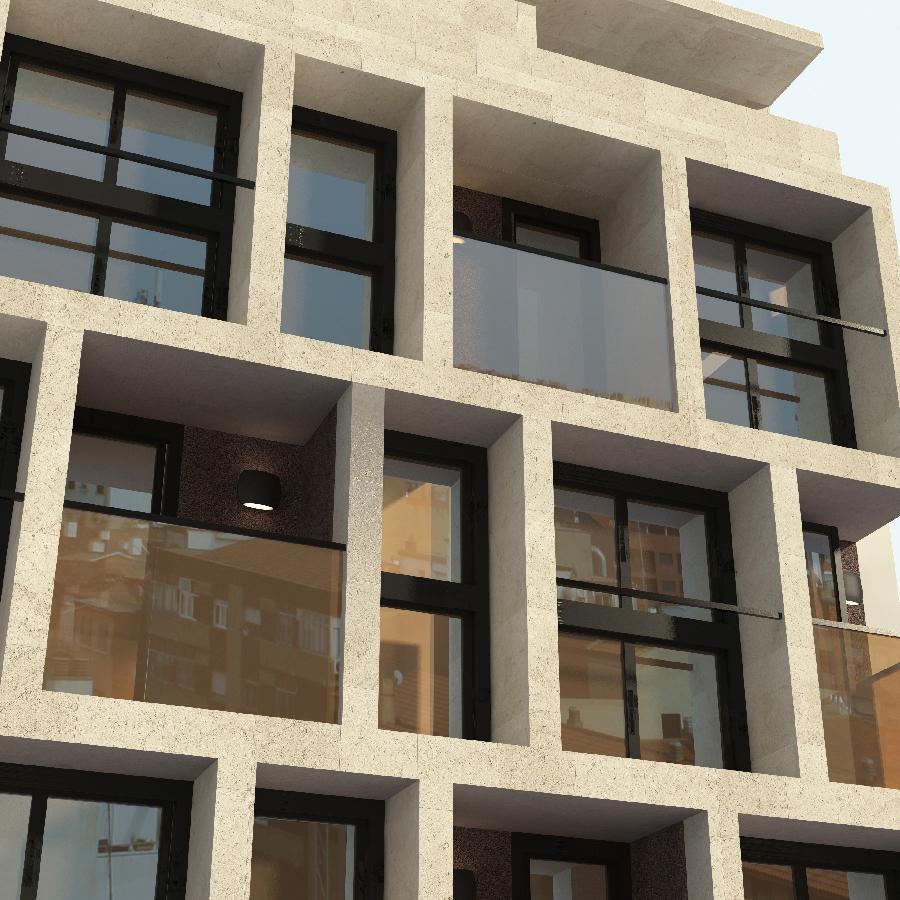 fachada de edificio en 3D