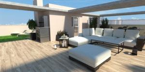Infografia 3D de una terraza